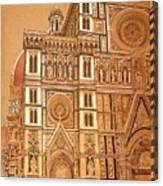 Faced Of Florence Cathedral  Canvas Print