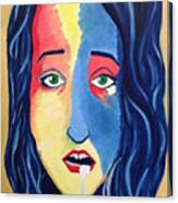 Facial Or Woman With Green Eyes Canvas Print