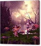 Fairies At A Pond Canvas Print