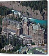 Fairmont Banff Springs Hotel With The Bow River Falls Banff Alberta Canada Canvas Print