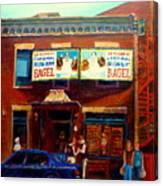 Fairmount Bagel By Montreal Streetscene Painter Carole  Spandau Canvas Print
