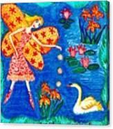 Fairy Feeding Swan Canvas Print