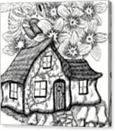 Fairy House, Bee, And Dogwood Canvas Print