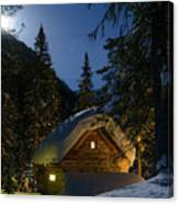 Fairy House In The Forest Moonlit Winter Night Canvas Print