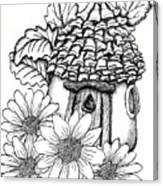 Fairy House With Pine Cone Roof And Daisies Canvas Print