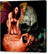 Fairy Lites On Skull Canvas Print