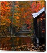 Fall Barn And River N Leverett Ma Canvas Print