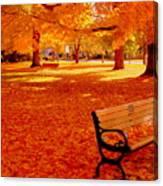 Fall Bench  Newburyport Ma Canvas Print