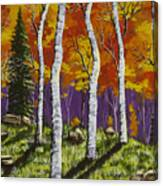 Fall Birch Trees Painting Canvas Print