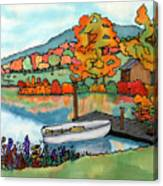 Fall Boat And Dock Canvas Print