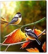 Fall Chickadees Canvas Print