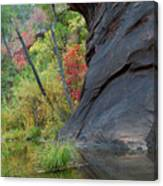 Fall Colors Peek Around Mountain Vertical Canvas Print
