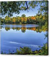 Fall Foliage At Turners Pond In Milton Massachusetts Canvas Print