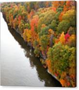 Fall Foliage In Hudson River 10 Canvas Print
