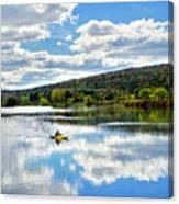 Fall Kayaking Reflection Landscape Canvas Print