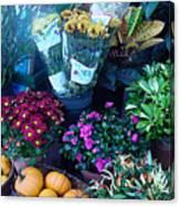 Fall Market Scene In Watercolor Canvas Print