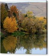 Fall Reflection Below The Hills In Prosser Canvas Print