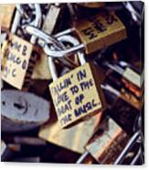 Falling In Love To The Beat Of The Music, Love Lock Canvas Print