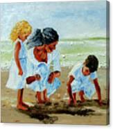 Family At The Beach Canvas Print