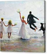 Family Beach Wedding Canvas Print