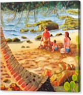 Family Day At Jobos Beach Canvas Print