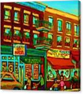Family Frolic On St.viateur Street Canvas Print