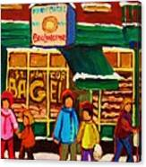 Family  Fun At St. Viateur Bagel Canvas Print