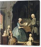 Family Group Near A Harpsichord, 1739 Canvas Print