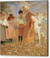 Family Group With Cow Canvas Print