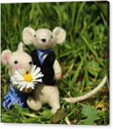 Family Mouse On The Spring Meadow .1. Canvas Print
