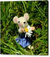 Family Mouse On The Spring Meadow Canvas Print