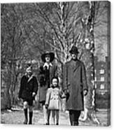 Family Out Walking On A Wintry Day Canvas Print