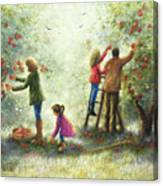 Family Picking Apples Canvas Print