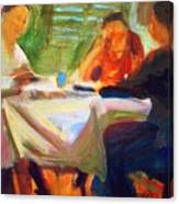 Family Talk At The Table Canvas Print