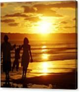 Family Walk On Beach Canvas Print
