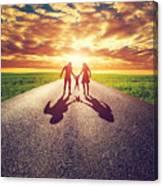 Family Walk On Long Straight Road Towards Sunset Sun Canvas Print