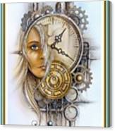 Fantasy Art - Time Encaptulata For A Woman's Face, Clock, Gears And More. L A S With Ornate Frame. Canvas Print