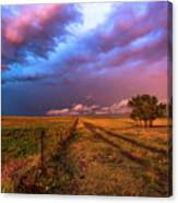 Far And Away - Open Prairie Under Colorful Sky In Oklahoma Panhandle Canvas Print