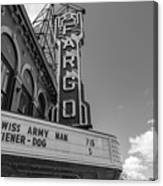 Fargo Theater Sign Black And White  Canvas Print