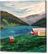 Farm At The Fjord Canvas Print