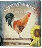 Farm Fresh Barnyard Rooster Morning Sunflower Rustic Canvas Print