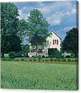 Farm House And Spring Field, Maryland Canvas Print