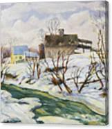 Farm In Winter Canvas Print
