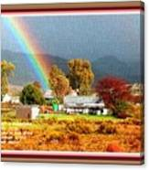 Farm Scene With Rainbow After Some Rains L A With Decorative Ornate Printed Frame. Canvas Print