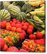 Farm To Market Produce - Melons, Corn, Tomatoes Canvas Print