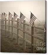 Farm With Fence And American Flags Canvas Print
