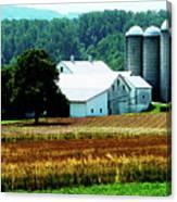 Farm With White Silos Canvas Print