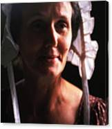 Farm Woman In Bonnet Canvas Print