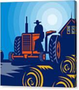 Farmer Driving Vintage Tractor Canvas Print