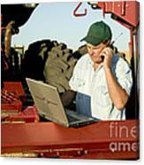 Farmer With Laptop And Cell Phone Canvas Print